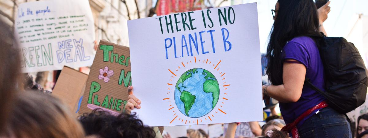 Young people striking for climate