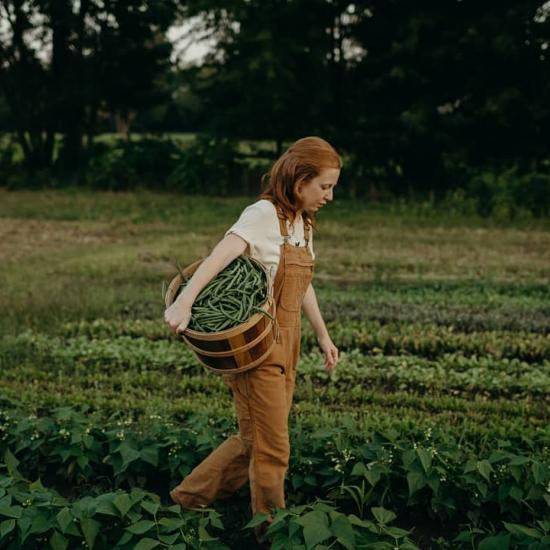 Woman walking in a field